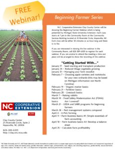 A flyer to promote the Beginning Farmer Webinar Series by Michigan State University.