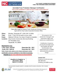 Cover photo for Rescheduled ServSafe Food Protection Manager Certification Class